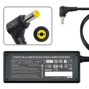 FONTE P/ NOTEBOOK ACER 19V 3.42A – Plug. 5.5×1.7mm